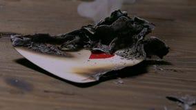 Rauchendes Pokerkartenherz-as stock video