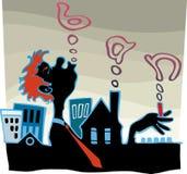 Raucher gegen die Stadt. Stockfotografie