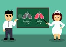 Raucher und Doktor Stellen Sie schützende Schablone und die Pille gegenüber, die im Hintergrund verwischt wird Smoker& x27; s-Lun Stockfoto