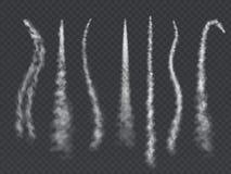 Rauchspur Der Wolkendampfhimmel Contrailzusammenfassungs-Rakete avion Rauch des hellen Flugzeuges der Kondensstreifen schleppende stock abbildung