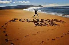 Raudasandur beach. Gladness during the travelling around the island on the raudasandur beach royalty free stock photos