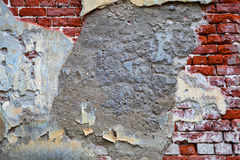 Raue Maurerarbeit Alte Wand von Ziegelsteinen, alte Betonmauer Stockfoto