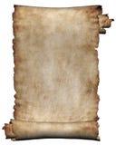 Raue Rolle des Manuskriptes des Pergamentpapier-Beschaffenheitshintergrundes getrennt auf Weiß Lizenzfreies Stockfoto