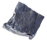 rauer kohlenstoffhaltiger Schieferstein auf Weiß lizenzfreies stockfoto