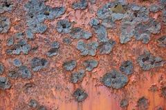 Raues Muster einer verrosteten Metallplatte Stockfotos