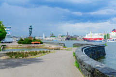 Rauhanpatsas Statue of Peace and the south harbor, in Helsinki Royalty Free Stock Photo