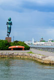 Rauhanpatsas Statue of Peace and the south harbor, in Helsinki Royalty Free Stock Photography