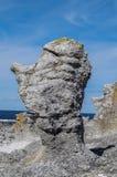 Raukar de Langhammarshammaren, Gotland, Suède Photo libre de droits