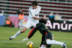 Raul gonzalez. Former Real Madrid and Spain national team captain Raul gonzalez controls the ballduring a match against real mallorca at iberostar stadium in the Royalty Free Stock Image