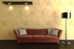 Raum 3d mit einem roten Sofa Lizenzfreie Stockfotografie