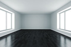 Raum 3d mit weißen Wänden und schwarzem Fußboden Stockbilder