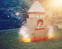 Raum-Astronaut Child Playing Outside Stockbilder