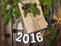 Raum 2016 auf dem hölzernen Hintergrund Lizenzfreies Stockbild