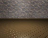 Raum 3D mit brauner Backsteinmauer und Parkett Stockbild
