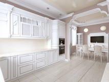 Raum in der klassischen Art, in postel Farben mit weißen Küchenmöbeln und eingebauten Geräten Küche-speisen lizenzfreie abbildung