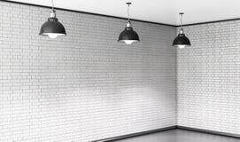 Raum des Ziegelsteines mit drei Deckenleuchten 3d Stockbilder