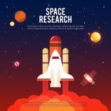 Raum-Forschungs-und Erforschungs-flache Fahne stock abbildung