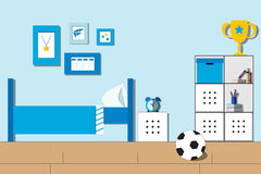 Raum-Junge, Jugendlichraum oder Studentenschlafzimmerinnenraum Flache Art Lizenzfreies Stockfoto