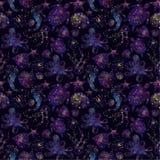 Raum, Konstellation, Seetiere, Algen, Muster vektor abbildung