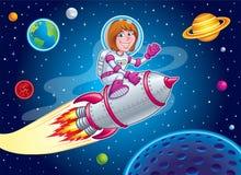 Raum-Mädchen-Reiten auf Rocket Ship Stockfoto