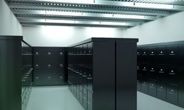 Room full of filing cabinets stock images