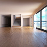 Raum mit Bretterboden und Treppenhaus Lizenzfreie Stockfotos