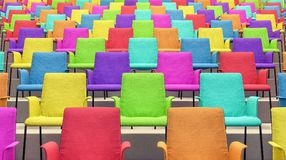 Raum mit bunten Stühlen 3d übertragen Stockfotos