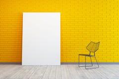 Raum mit leerem Bild und Stuhl Stockfoto