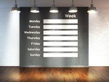 Raum mit Suchscheinwerfern, leerer Raum 3d mit Bretterboden und Backsteinmauer als Hintergrund mit Wandkalender Zeitplannotiz man Stockbild