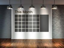 Raum mit Suchscheinwerfern, leerer Raum 3d mit Bretterboden und Backsteinmauer als Hintergrund mit Wandkalender Zeitplannotiz man Stockbilder