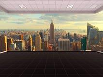 Raum in New York City, leerer Raum, 3D, das Innenraum, USA überträgt Stockfoto