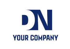 Raum-Quadrat Swoosh-Buchstabe-Logo DN negatives stock abbildung