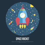 Raum Rocket Conceptual Vector Web Banner Stockfotos