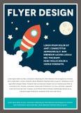 Raum Rocket Flyer Template Design Lizenzfreies Stockbild