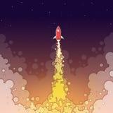 Raum Rocket Launch in der Nacht Beginnen Sie oben Konzept-Plakat Spaship-Anfangsfahnen-fette Art-Illustration Stockfotografie