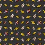 Raum Rocket Robots und nahtloses Muster Saturns Stockbilder