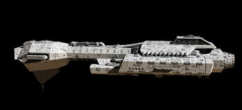 Raum-Schiff auf schwarz- Seitenansicht Lizenzfreies Stockbild