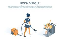Raum-Servicekonzept-Reinigungslaufkatze und Mädchen vektor abbildung