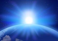 Raum-Sonnenuntergang-Hintergrund Stockbild