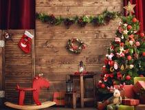 Raum verziert für Weihnachten stockbilder