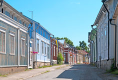 Rauma. Finland. Old Rauma. RAUMA, FINLAND - JULY 6, 2013: Wooden houses in the old part of Rauma town. Old Rauma is an object of the Unesco world heritage site royalty free stock photos