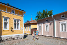 Rauma. Finland. Old Rauma. RAUMA, FINLAND - JULY 6, 2013: Wooden residential house in the old part of Rauma town. Old Rauma is a object of the Unesco world stock image