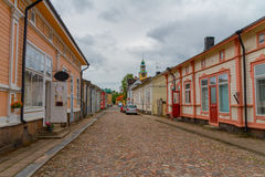 Rauma, Finland - oude blokhuizen Stock Afbeelding