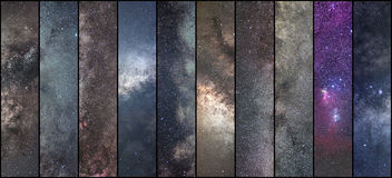 Raumcollage Astronomiecollage Astrophotographycollage universum stockfotos