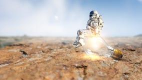 Raumfahrer auf Birne Gemischte Medien lizenzfreie stockfotos