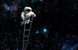 Raumfahrer, der in Raum reist Auftrag im Weltraum lizenzfreies stockbild