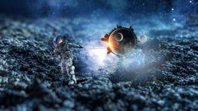 Raumfahrer stehlen Planeten Gemischte Medien lizenzfreie stockfotografie
