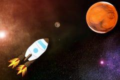 Raumfahrt zum roten Planeten Lizenzfreie Stockfotos