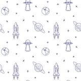 Raumfahrtlinie Ikonen Elemente von UFO, Komet, Planet, Satelitte Nahtloses Muster stock abbildung