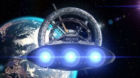 Raumfahrzeugfliegen in Raumstationstür auf Hintergrund von Erde, Animation 3d Beschaffenheit der Erde wurde in geschaffen